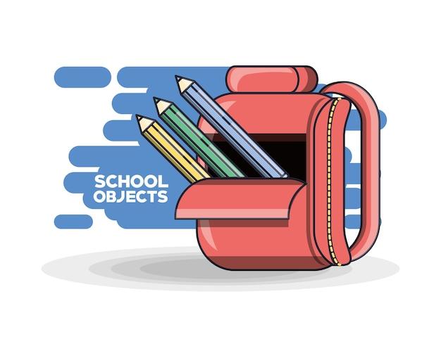 Koncepcja Edukacji Kolorowe Plecak Szkolny Premium Wektorów