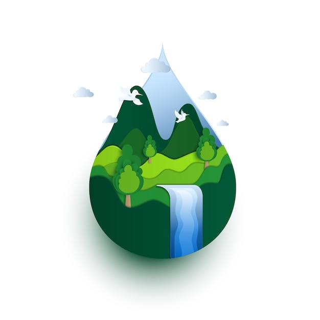 Koncepcja Ekologicznego Dnia Ziemskiego. Premium Wektorów