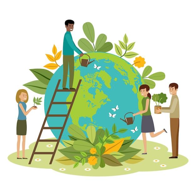 Koncepcja Ekologii. Ludzie Dbają O Planetę. Chroń Naturę. Dzień Ziemi. Kula Ziemska Z Roślinami I Ochotnikami Premium Wektorów