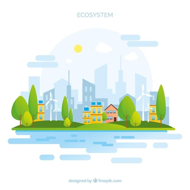 Koncepcja Ekosystemu Z Miastem Premium Wektorów