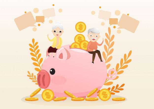 Koncepcja emerytury. stary człowiek i kobieta z złotym prosiątko bankiem. Premium Wektorów