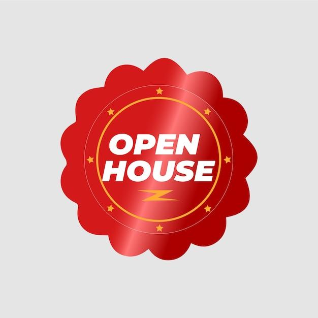 Koncepcja Etykiety Otwarty Dom Nieruchomości Darmowych Wektorów
