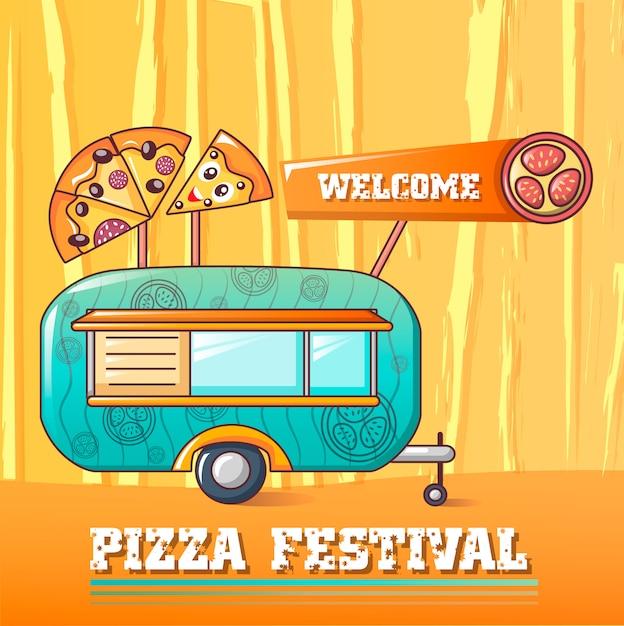 Koncepcja festiwalu pizzy powitalny, stylu cartoon Premium Wektorów