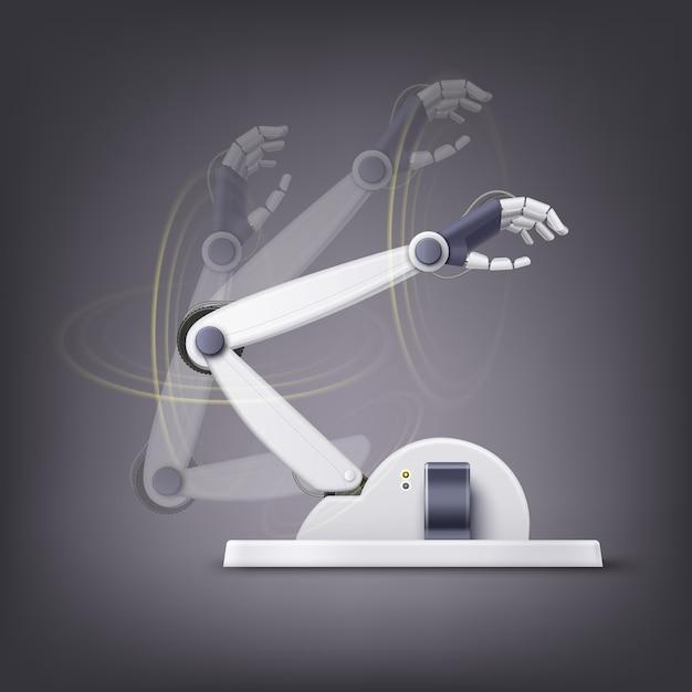 Koncepcja Fikcyjnej Antropomorficznej Ręki Robota Na Białym Tle Na Ciemnym Tle Premium Wektorów