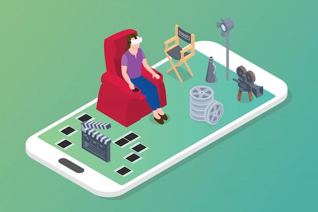 Koncepcja Filmów Wirtualnej Rzeczywistości Vr Z Kobietą Siedzą Na Krześle I Ikona Filmu W Nowoczesnym Stylu Izometrycznym Premium Wektorów