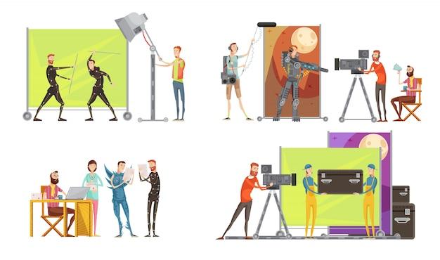Koncepcja filmu z aktorami reżysera na planie filmowym kamerzysta i inżynier dźwięku oświetlenie na białym tle ilustracji wektorowych Darmowych Wektorów