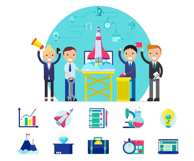 Koncepcja Firmy Start Up Darmowych Wektorów