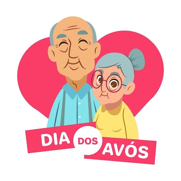 Koncepcja Flat Dia Dos Avós Premium Wektorów