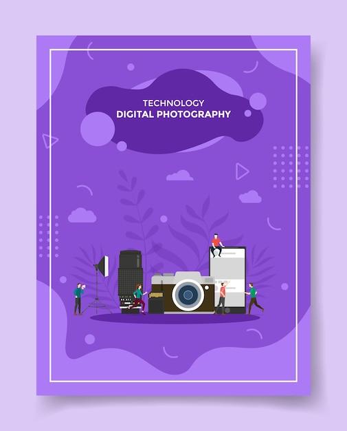 Koncepcja Fotografii Cyfrowej Ludzie Wokół Obiektywu Aparatu Fotograficznego Oświetlenie Karty Pamięci Smartfona Premium Wektorów