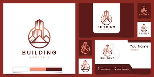 Koncepcja Górskiego Budynku Z Piękną Inspiracją Do Projektowania Logo Sztuki Linii Premium Wektorów