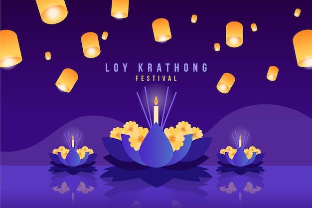 Koncepcja Gradientu Loy Krathong Darmowych Wektorów