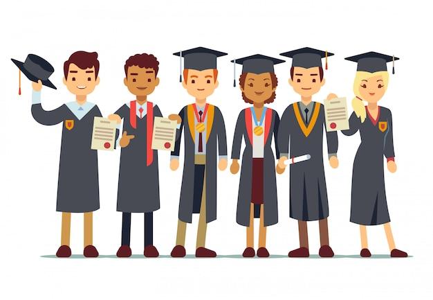Koncepcja graduation wektor z uczniami Premium Wektorów