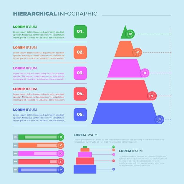 Koncepcja Hierarchicznej Infografiki Darmowych Wektorów