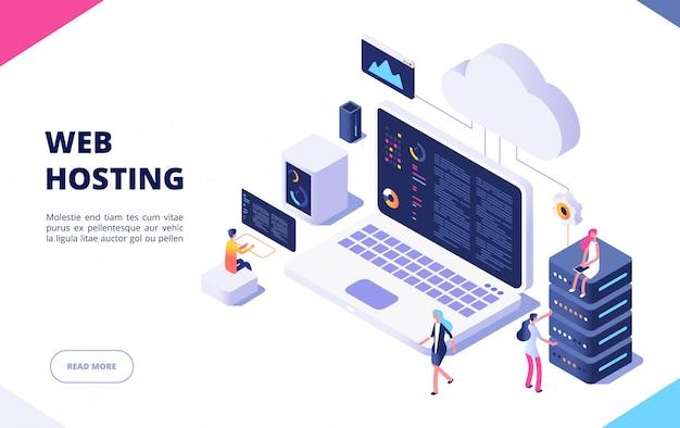 Koncepcja Hostingu. Przetwarzanie W Chmurze Baza Danych Online Technologia Bezpieczeństwo Komputer Web Centrum Danych Serwer Izometryczna Strona Docelowa Premium Wektorów