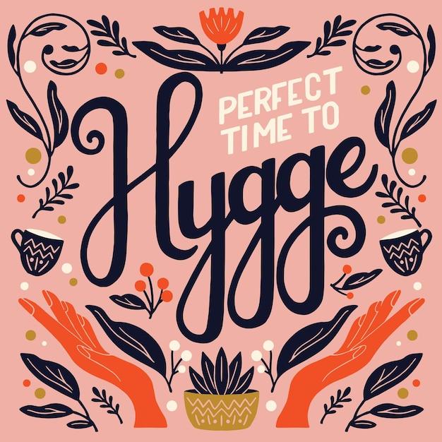 Koncepcja Hygge. Kolorowy Napis I Ilustracja Premium Wektorów