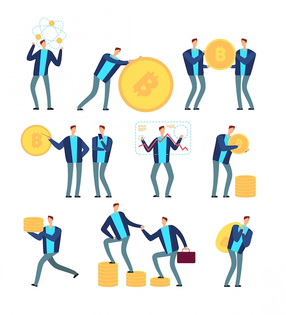 Koncepcja Ico I Blockchain. Ludzie Biznesu Z Kryptowalutą I Tokenami. Glob Cyfrowy Górnictwo I Zysk Wektor Zestaw Premium Wektorów