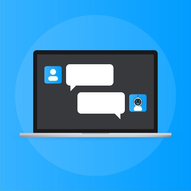 Koncepcja Ikony Chatbota, Czat Bot Lub Czatbot. Wirtualna Pomoc Robota Dla Strony Internetowej Lub Aplikacji Mobilnych Premium Wektorów