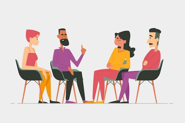 Koncepcja Ilustracja Terapii Grupowej Darmowych Wektorów