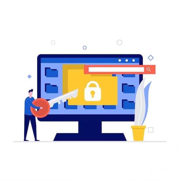 Koncepcja Ilustracji Bezpieczeństwa Cybernetycznego Ze Znakami I Folderami. Bezpieczeństwo Danych, Chroniona Kontrola Dostępu, Ochrona Prywatności. Premium Wektorów