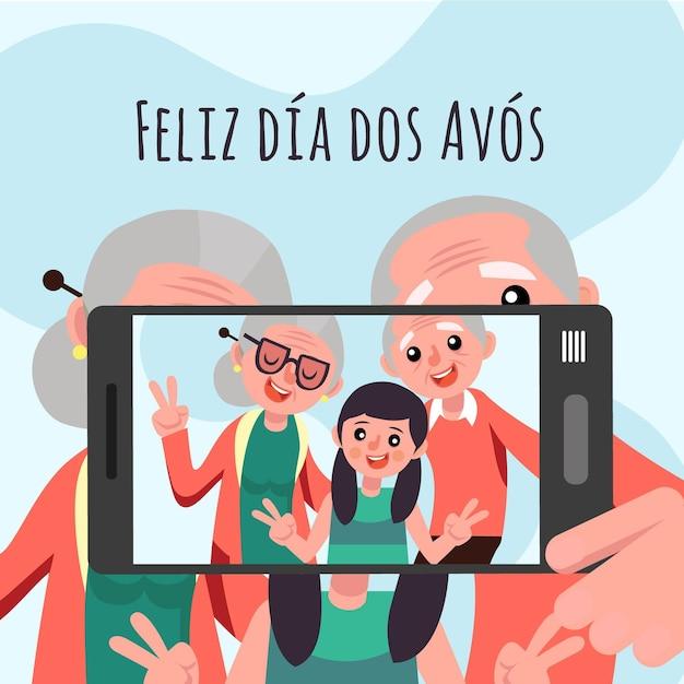 Koncepcja Ilustracji Dia Dos Avós Premium Wektorów