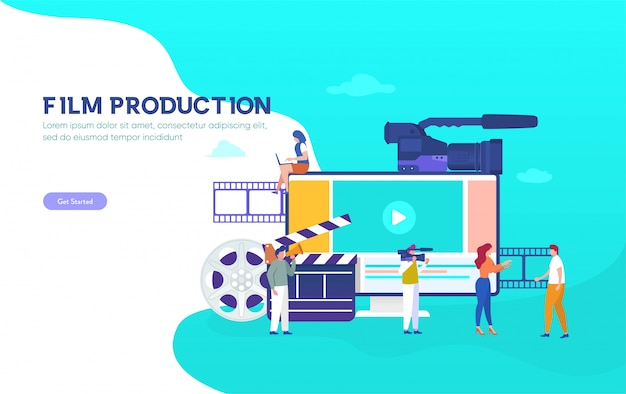 Koncepcja Ilustracji Produkcji Filmowej, Ludzie W Studio Kręcący Film, Filmowy Kurs Online, Z Którego Można Skorzystać, Strona Docelowa, Szablon, Interfejs Użytkownika, Sieć, Aplikacja Mobilna, Plakat, Baner, Ulotka, Tło Premium Wektorów