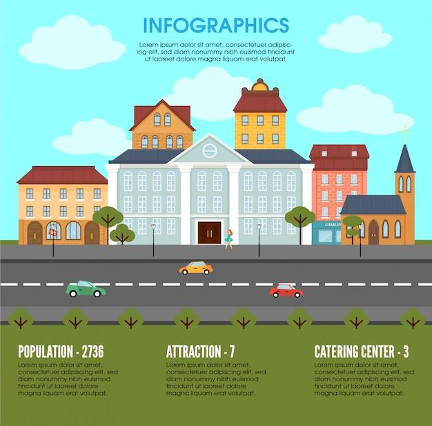 Koncepcja Infografika Elementów Krajobrazu Starego Miasta Darmowych Wektorów