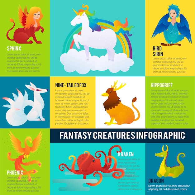Koncepcja Infografika Kolorowe Fantastyczne Zwierzęta Darmowych Wektorów