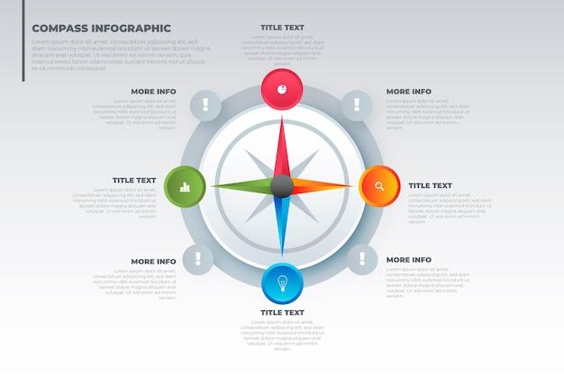 Koncepcja Infografiki Gradientu Kompasu Darmowych Wektorów