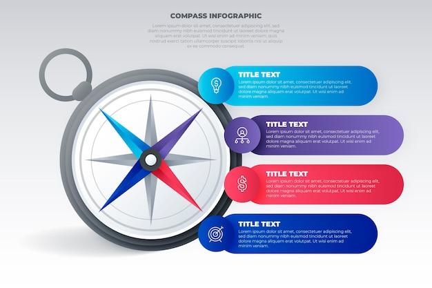 Koncepcja Infografiki Gradientu Kompasu Premium Wektorów