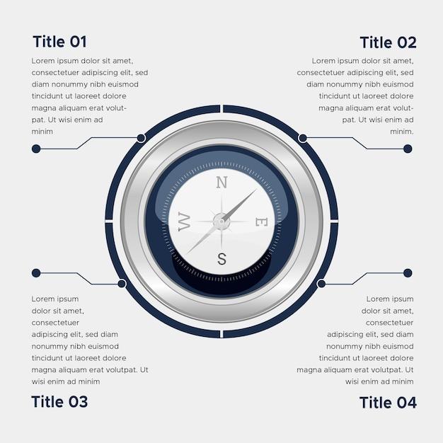 Koncepcja Infografiki Płaski Kompas Darmowych Wektorów