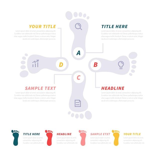 Koncepcja Infografiki Płaski ślad Darmowych Wektorów