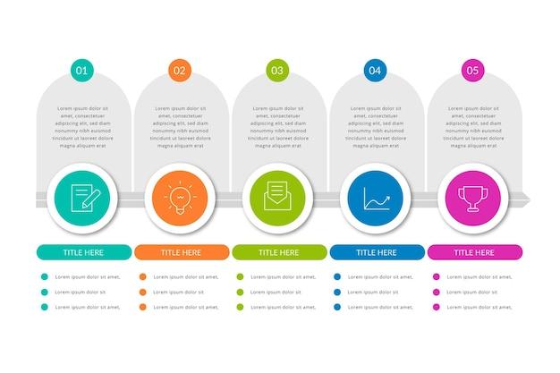 Koncepcja Infographic Proces Płaski Darmowych Wektorów