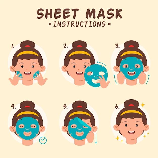 Koncepcja Instrukcji Maski Arkusza Premium Wektorów