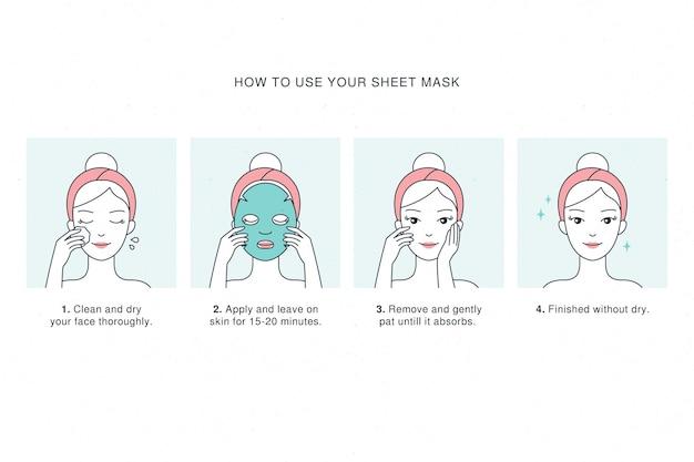 Koncepcja Instrukcji Maski W Płachcie Premium Wektorów