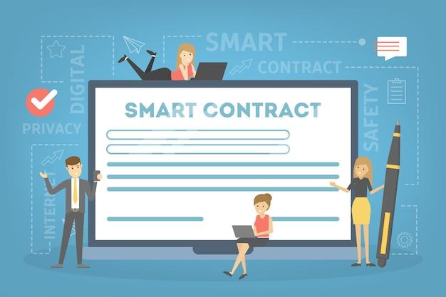 Koncepcja Inteligentnego Kontraktu. Cyfrowy Dokument Biznesowy Z Podpisem Elektronicznym. Nowoczesna Technologia I Blockchain. Ilustracja Premium Wektorów