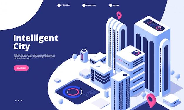 Koncepcja Inteligentnego Miasta. Miejskie Cyfrowe Innowacje Biuro Przyszłości Miasto Wirtualne Miasto Droga Inteligentne Wieżowiec Izometryczny Strona Docelowa Premium Wektorów