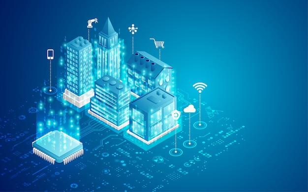 Koncepcja inteligentnego miasta Premium Wektorów