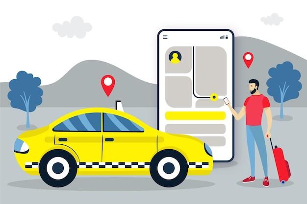 Koncepcja Interfejsu Aplikacji Taxi Darmowych Wektorów
