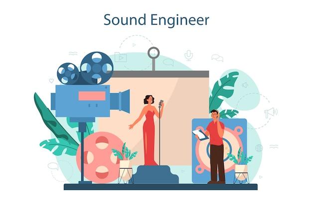 Koncepcja Inżyniera Dźwięku. Przemysł Muzyczny, Wyposażenie Studia Nagrań Dźwiękowych. Twórca ścieżki Dźwiękowej Do Filmu. Premium Wektorów