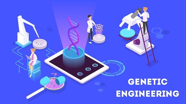 Koncepcja Inżynierii Genetycznej. Eksperyment Biologiczno-chemiczny. Wynalazek I Innowacja W Medycynie. Futurystyczna Technologia. Ilustracja Izometryczna Premium Wektorów