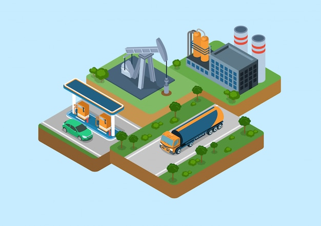 Koncepcja Izometryczna Cyklu Procesu Produkcji Benzyny. Wiertnica Do Wydobywania Ropy Naftowej, Rafineria, Logistyka Dostawy Cysternami Cysternami Samochodowymi, Stacja Tankowania Benzyny Detaliczna Ilustracja Sprzedaży Benzyny. Darmowych Wektorów