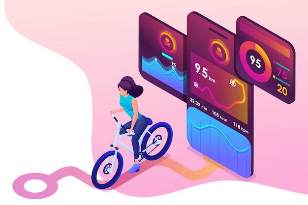 Koncepcja izometryczna młoda dziewczyna na rowerze, aplikacja mobilna śledzi trening, sygnał gps. Premium Wektorów