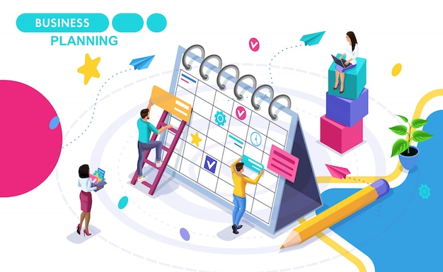 Koncepcja Izometryczna Planowania Biznesowego, Opracowywanie Harmonogramów Rozwoju Biznesu. Izometryczne Ludzi W Ruchu. Koncepcje Banerów Internetowych I Materiałów Drukowanych Premium Wektorów