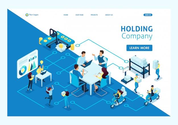 Koncepcja Izometryczna Pracy Dużych Spółek Holdingowych. Przedsiębiorstwa O Strukturze Produkcji. Szablon Strony Docelowej Premium Wektorów