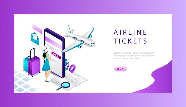 Koncepcja Izometryczna Rezerwacji I Rezerwacji Biletów Lotniczych Online. Premium Wektorów