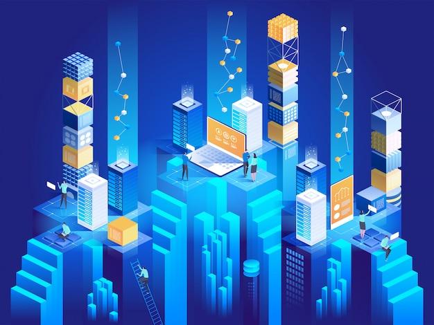 Koncepcja Izometryczna Technologii. Bloki Cyfrowe łączą Się Ze Sobą. Premium Wektorów