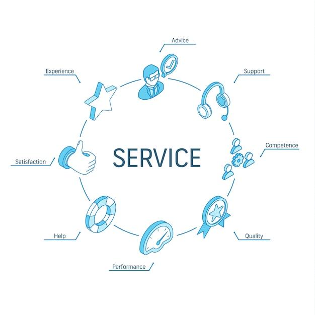 Koncepcja Izometryczna Usługi. Połączone Ikony 3d Linii. Zintegrowany System Projektowania Infografik Okręgu. Symbole Wsparcia, Doświadczenia, Porad I Pomocy Premium Wektorów