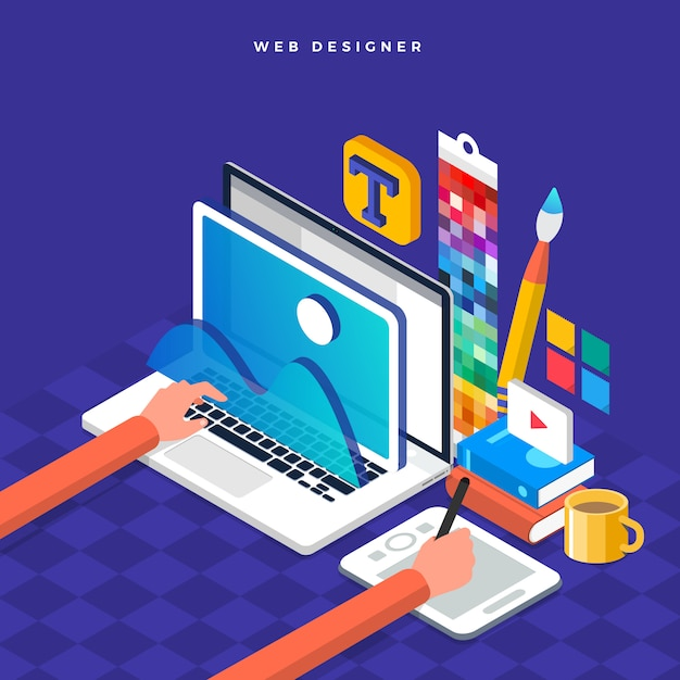 Koncepcja Izometryczna Web Er. Ilustracja. Projekt Układu Strony Internetowej. Premium Wektorów