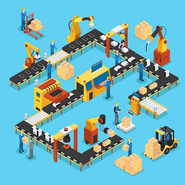 Koncepcja Izometrycznej Zautomatyzowanej Linii Produkcyjnej Premium Wektorów