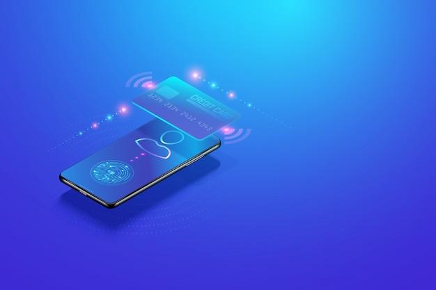 Koncepcja Izometryczny Bankowości Mobilnej W Internecie. Bezpieczna Transakcja Płatności Online Za Pomocą Smartfona I Płatności Cyfrowych Premium Wektorów